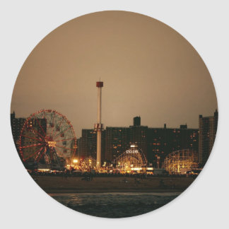 Coney Island at Night Classic Round Sticker