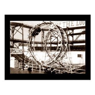 Coney Island Loop The Loop Roller Coaster Postcard