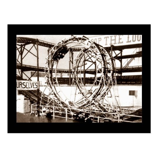 Coney Island Loop The Loop Roller Coaster Postcard