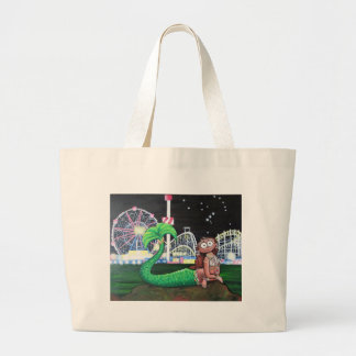 Coney Island Mermaid Large Tote Bag