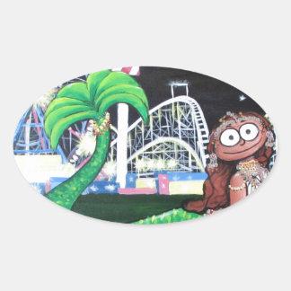 Coney Island Mermaid Oval Sticker