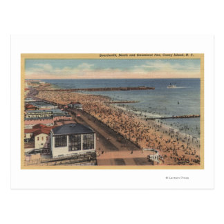 Coney Island, New York - Boardwalk, Beach Postcard