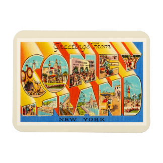 Coney Island New York NY Vintage Travel Souvenir Rectangular Photo Magnet