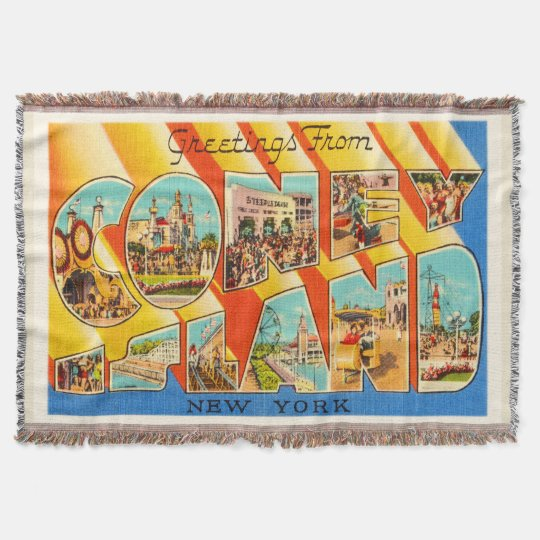 Coney Island New York NY Vintage Travel Souvenir Throw Blanket
