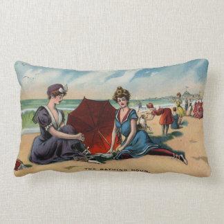Coney Island NY 1909 Beach Scene Lumbar Pillow