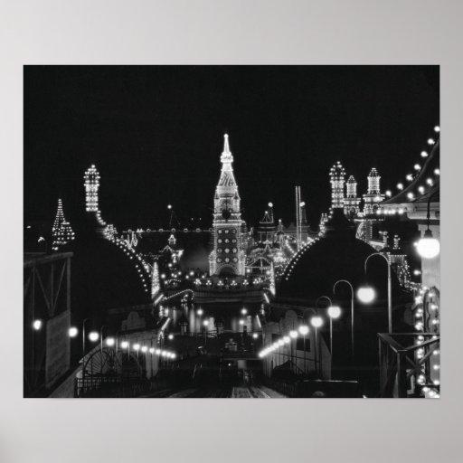 Coney Island Roller Coaster-1826596.bw.jpg Posters