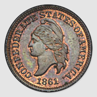 Confederate Civil War 1861 Copper Penny Classic Round Sticker