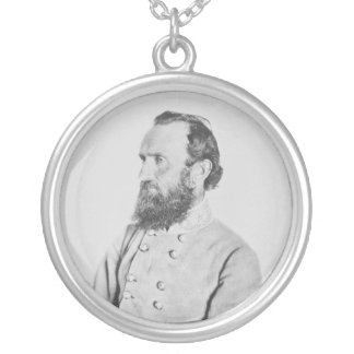 Confederate General Thomas J Stonewall Jackson Silver Plated Necklace