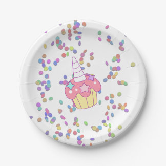 Confetti and Unicorn Cupcake Theme Paper Plate