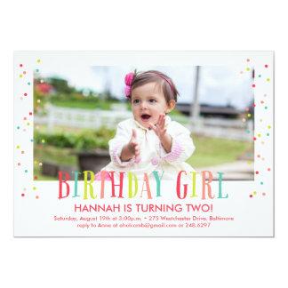 Confetti Birthday Girl Photo Invitation