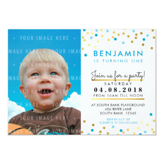 CONFETTI birthday party INVITE blue gold spots boy