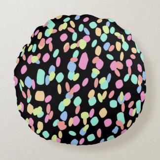 Confetti - Black Artwork Design Round Pillow