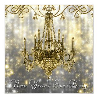 "Confetti Black Gold Chandelier New Years Eve 5.25"" Square Invitation Card"
