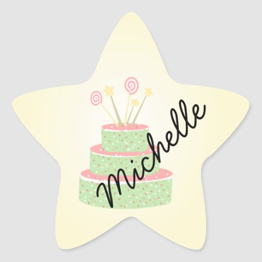Confetti Cake • Green Birthday Cake Star Sticker