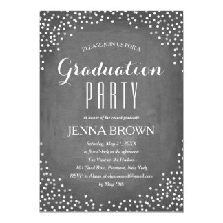 Confetti Chalkboard Graduation Party Invitation