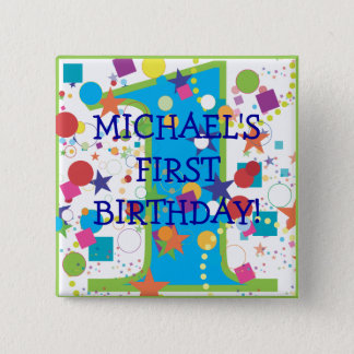 Confetti Circus Number One, First Birthday 2 Inch Square Button