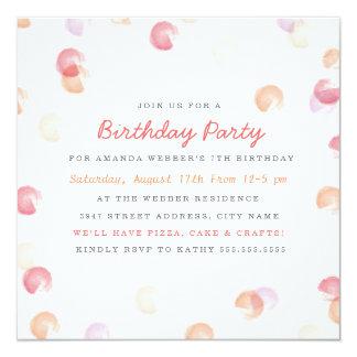 """Confetti Dot Birthday Invitation 5.25"""" Square Invitation Card"""