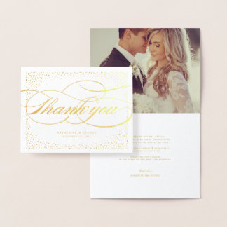 Confetti Dots Frame Classic Chic Wedding Thank You Foil Card
