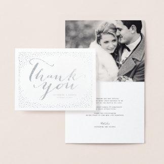 Confetti Dots Frame Modern Chic Wedding Thank You Foil Card