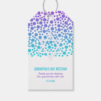 Confetti Dots Purple Teal Bat Mitzvah Gift Tags