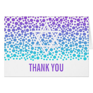 Confetti Dots Purple Teal Bat Mitzvah Thank You Card