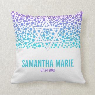 Confetti Dots Purple Teal Bat Mitzvah Throw Pillow