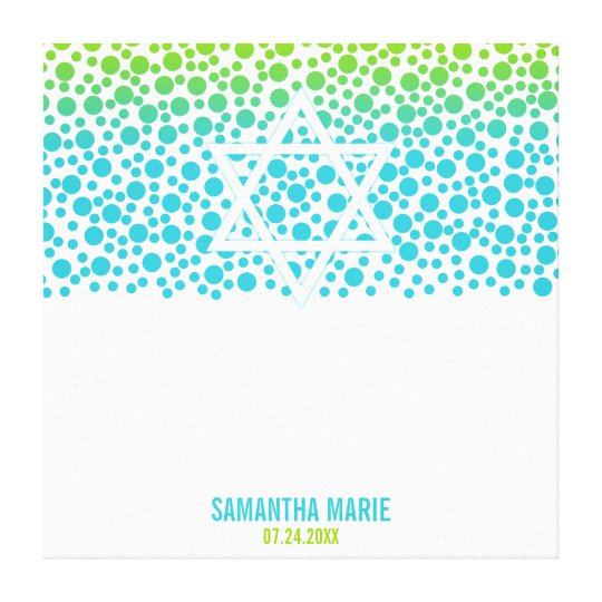 Confetti Dots Teal Lime Green Bat Mitzvah Sign In