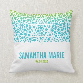 Confetti Dots Teal Lime Green Bat Mitzvah Throw Pillow