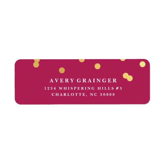 Confetti faux foil return address label