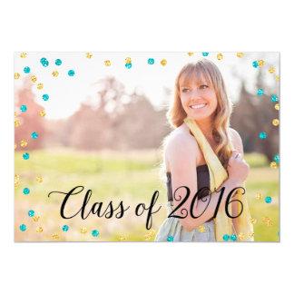 Confetti Faux Gold Teal Blue Photo 2016 Graduation Card