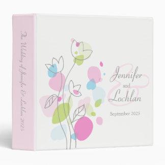 Confetti flower pink aqua gray wedding folder binder