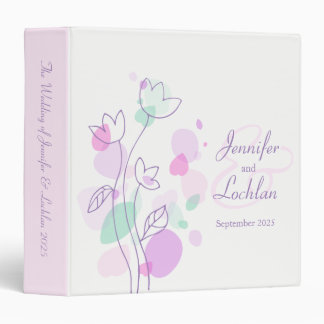 Confetti flower purple pink aqua wedding folder 3 ring binder