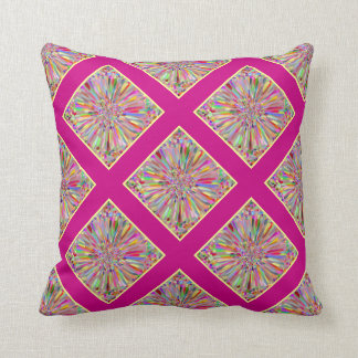 Confetti Flower Summer in Pink & Yellow Plaid Throw Pillow