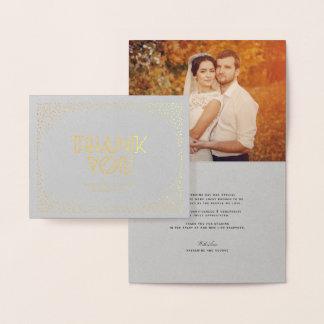 Confetti Frame Art Deco Chic Wedding Thank You Foil Card
