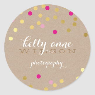 CONFETTI GLAMOROUS cute gold foil bold pink kraft Round Sticker
