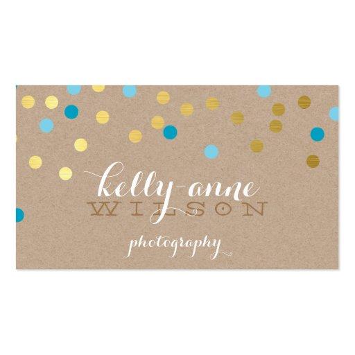 CONFETTI GLAMOROUS cute gold turquoise blue kraft Business Card Template