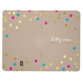 CONFETTI GLAMOROUS cute spot gold kraft pink aqua Journals