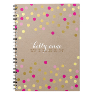 CONFETTI GLAMOROUS cute spot gold pink kraft Spiral Notebooks