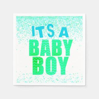 Confetti Glitter Baby Shower Boy Paper Napkins