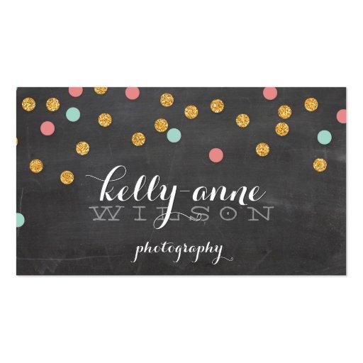 CONFETTI GLITTER cute gold coral mint chalkboard Business Card