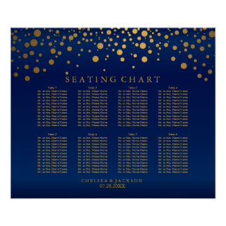 Confetti Gold Dots & Navy Blue Satin Seating Chart Poster