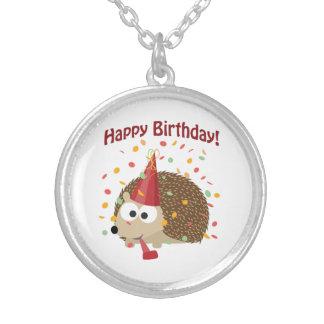 Confetti Happy Birthday Hedgehog Silver Plated Necklace