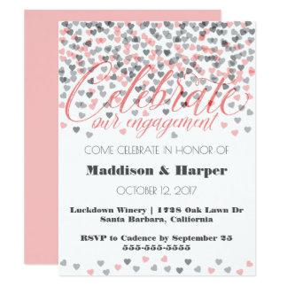 Confetti Hearts Engagement Invitation