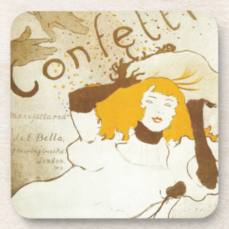 Confetti Henri de Toulouse Lautrec illustration Coaster