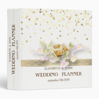 Confetti,Lace,Flowers Personalized Bridal Planner 3 Ring Binder