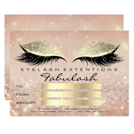 Confetti Lashes Gold Glam Makeup Certificate Gift Card