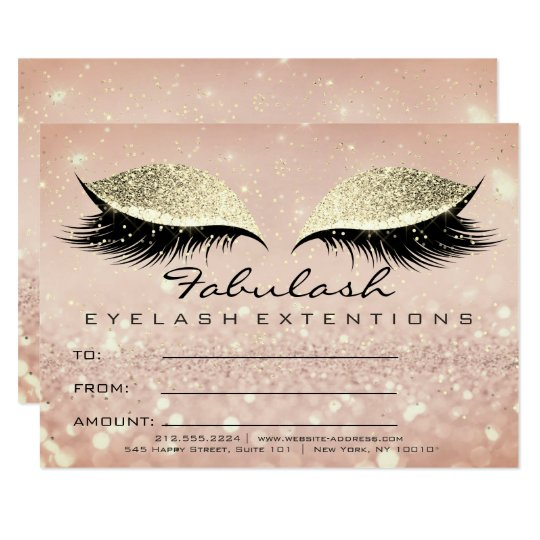 Confetti Lashes Gold Lux Makeup Certificate Gift Card