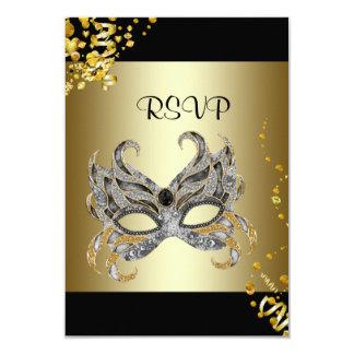 """Confetti Mask Black Gold Masquerade Party RSVP 3.5"""" X 5"""" Invitation Card"""