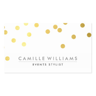 CONFETTI modern cute polka dot pattern gold foil Pack Of Standard Business Cards