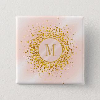 Confetti Monogram Rose Gold Foil ID445 2 Inch Square Button